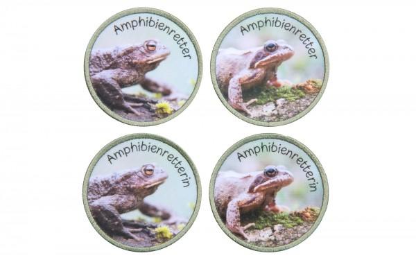 Aufnäher Amphibienretter oder Amphibienretterin mit Grasfrosch oder Erdkröte