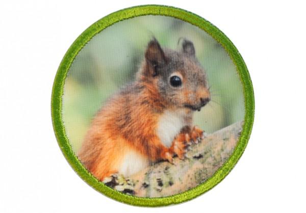 """Aufnäher """"Kleiner Baumkobold"""" - Eichhörnchen rund"""